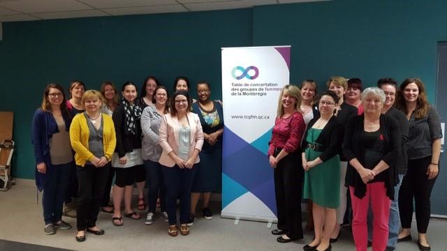 Les représentantes des groupes membres de la TCGFM en compagnie d'Isabelle Lord (bureau de la députée fédérale Sherry Romanado) et Pascale Navarro lors du lancement officiel du projet en mai 2017.