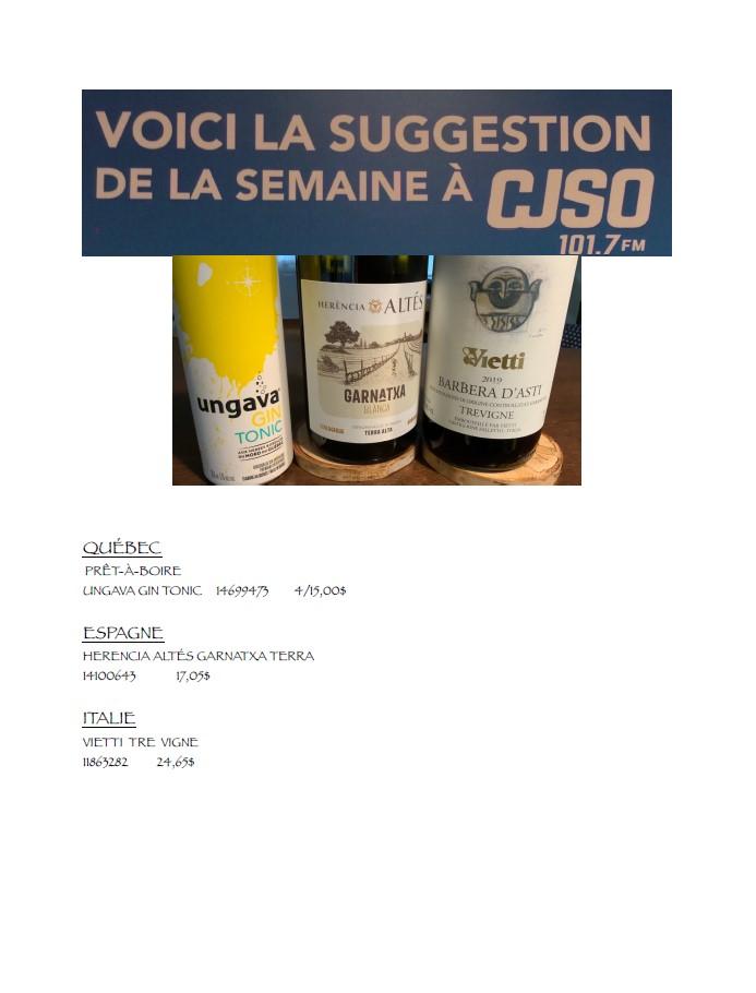 Chronique des vins 27 aout 2021